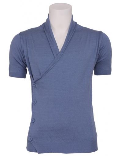 Zumo - Arturo - S/S cardigan fancy button - T-shirts & Tanktops - Blauw