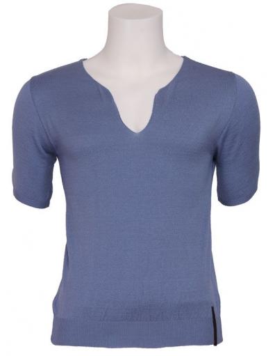 Zumo - Kenneth - Pull S/S Fancy V-neck - T-shirts - Blauw