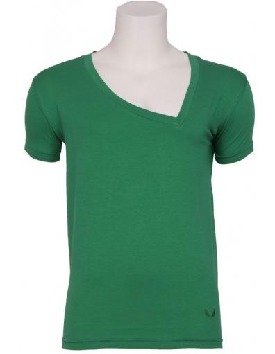 Zumo - Larione - T-shirt S/S Asy V-neck GR - T-shirts - Groen