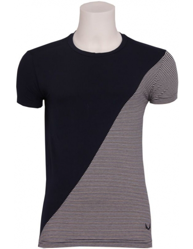 Zumo - FASCO - T-SHIRT S/S Partially Stripe - T-shirts - Blauw