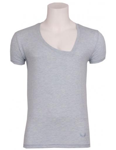 Zumo - Larione - T-shirt S/S Asy V-neck LB - T-shirts - Blauw