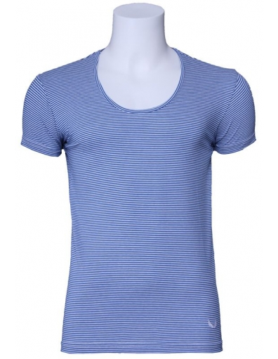 Zumo basic t-shirt - Stuart stripe - blauw / wit